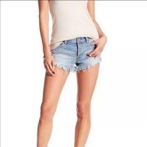 Free People Denim Frayed Distressed Shorts